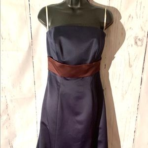 👗Navy Blue Satin Strapless 👗 by SB Boutique S-10